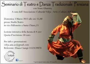 Seminario di Teatro e Danza Tradizionale Persiana  il 3 di Marzo A Napoli